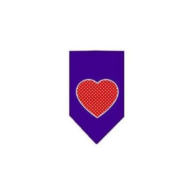 Ahi Red Swiss Dot Heart Screen Print Bandana Purple Large