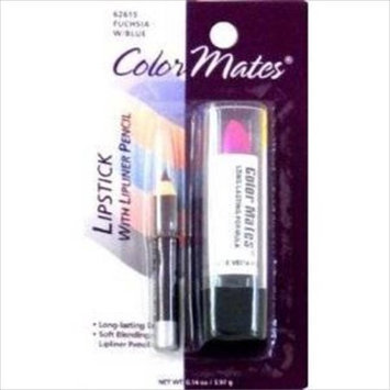 COLOR MATES LIPSTICK WITH LIP LINER PENCIL #62615 FUCHSIA W/ BLUE