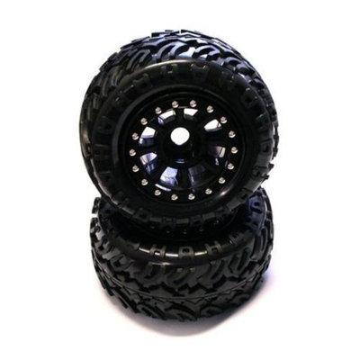 8-Spoke XWide Bdlk CrawlerWhl/T2 Tire23mm, Black(2)