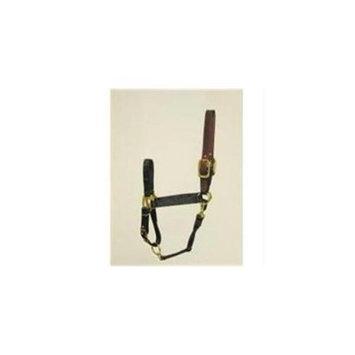 Hamilton Halter Company - Adjustable Halter With Leather Headpole- Black Large