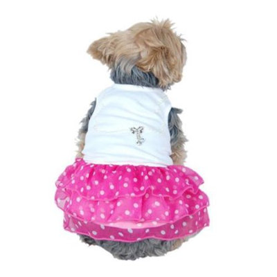 Insten Cute Little Elegant Pet Dress with Pearl Decorated Top and Layered Chiffon Polka Dotted Skirt, Medium Pink and White