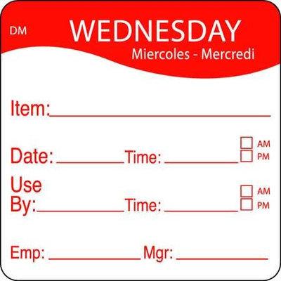 DAYMARK 1100533 Day Label, Wednesday,2-2/5 In. W,PK250
