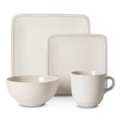 Threshold Square Glazed 16 Piece Dinnerware Set - Cream
