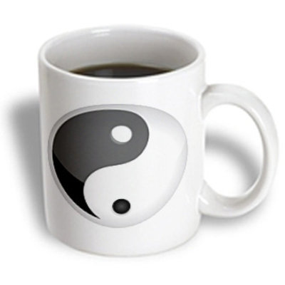 Recaro North 3dRose - Anne Marie Baugh Signs - Black and White Yin and Yang Sign - 11 oz mug
