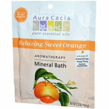 Aura Cacia Aromatherapy Mineral Bath Relaxing Sweet Orange 2.5 oz Case of 6