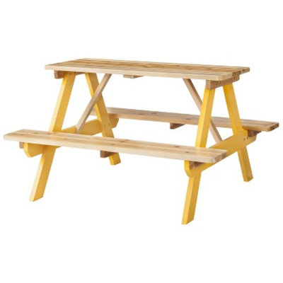 Room Essentials Kids Wood Patio Picnic Table - Yellow