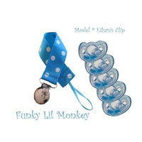 Funky Lil Monkey 5 Blue Gumdrop Pacifiers + Polka-dotted Pacifier Clip