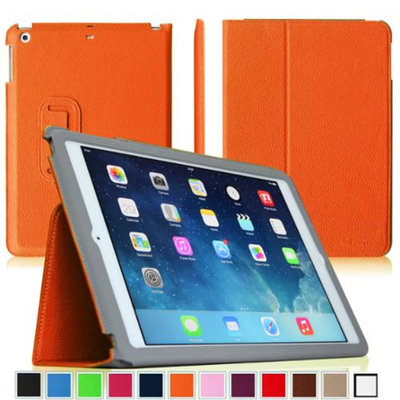 Fintie Ultra Slim Leather Standing Case Cover Auto Sleep / Wake Feature for iPad Air 5 (5th Generation), Orange