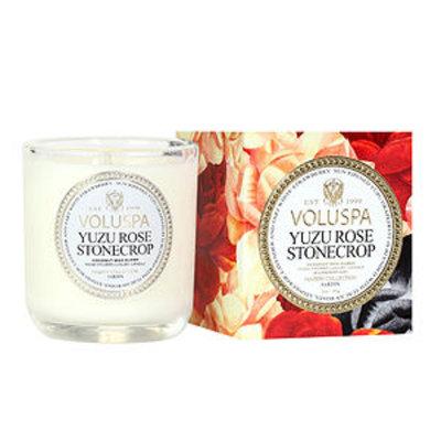 Voluspa Classic Maison Boxed Votive, Classic Votive Candle, Yuzu Rose Stonecrop, 3 oz