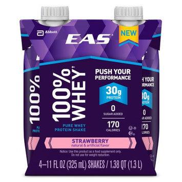 EAS 100% Whey Strawberry Pure Whey Protein Shakes, 11 fl oz, 4 count