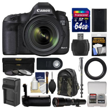 Canon EOS 5D Mark III Digital SLR Camera with EF 24-70mm f/4.0L IS USM Lens with 500mm Telephoto Lens + 64GB Card + Backpack + Battery & Charger + Grip + Monopod Kit