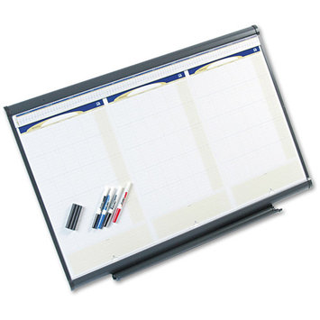 Kensington QUARTET 3-Month Wall Cal,w/Eraser,4 Markers,3'x2',Graphite Frame