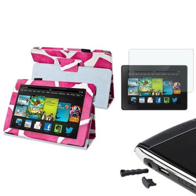 Insten INSTEN Pink Giraffe Leather Case Stand Cover For Kindle Fire HD 7 2nd Gen+Matte Protector/Cap