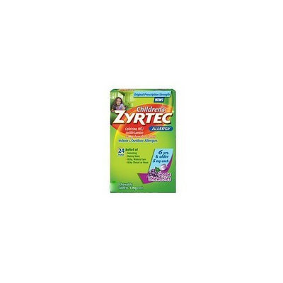 Zyrtec Allergy Childrens Cetrizine Chewable Tablets ~Grape Flavor ~5 Each