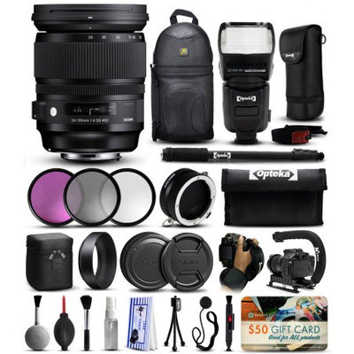 47th Street Photo Sigma 24-105mm F4 DG OS HSM Art Lens for Canon (635101) includes 3 Piece Filter Set (UV-CPL-FLD) + Stabilizer Handle + Sling Backpack + 67 Monopod + Dual Lens Flipper + Professional E-TTL Flash + Wrist Strap + Cleaning Kit + $50 Prints Gift Card