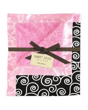 Jojo Designs Sweet JoJo Designs Madison Pink and Black Minky Swirl Baby Blanket