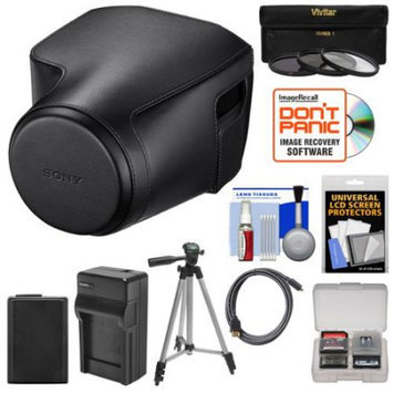 Sony LCJ-RXJ Protective Jacket Case for Cyber-Shot RX10 III Camera (Black) with Battery & Charger + 3 UV/CPL/ND8 Filters + Tripod + HDMI Cable + Kit