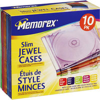 Memorex Color Slim CD Jewel Case, 10-Pk