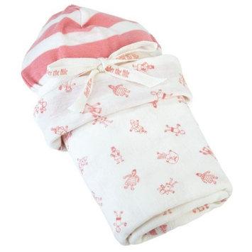 Under The Nile Organics Stroller Blanket & Hat Gift Set - Pink - NB-3 months