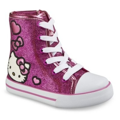 Toddler Girl's Hello Kitty Glitter High Top Sneakers - Pink 10