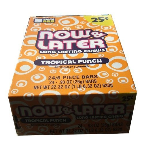Now and Later Tropical Punch Flavored Candy 24/6-Piece Bars