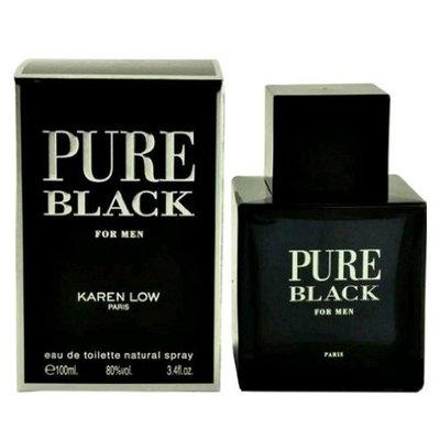 Karen Low Pure Black Eau de Toilette Spray for Men, 3.4 Ounce