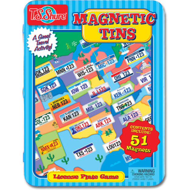T.S. Shure License Plate Game Magnetic Tin Play Set
