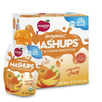 Revolution Foods Organic Mashups Fruit & Veggie Smoothie, Carroty Chop, 4-Count Mashups (Pack of 4)
