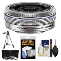 Olympus M.Zuiko 14-42mm f/3.5-5.6 EZ Digital Zoom Lens (Silver) with Tripod + 3 UV/CPL/ND8 Filters + Accessory Kit