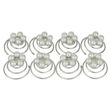 Social Gallery by Roman 8 Piece Pearl and Crystal Hair Pins - White
