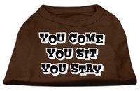 Ahi You Come You Sit You Stay Screen Print Shirts Brown Lg (14)