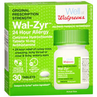 Walgreens Wal-Zyr 24 Hour Allergy Tablets, 30 ea