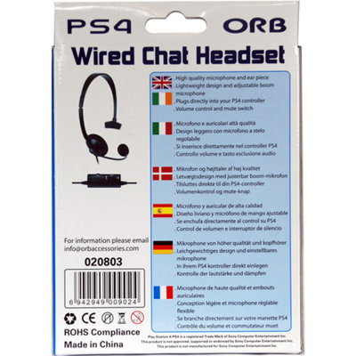 Orb PS4 Wired Chat Gaming Headset