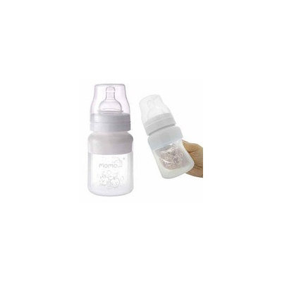 Momo Baby Wide Neck Silicone Baby Bottle, White, 5 Ounce