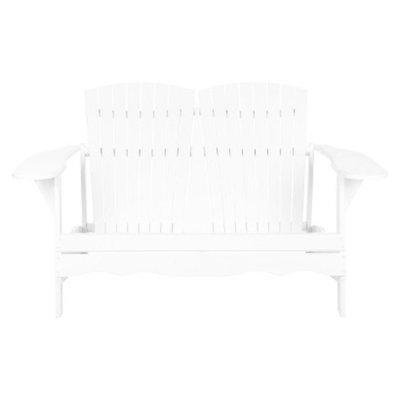 Safavieh Salinas Wood 3-Seater Patio Adirondack Bench - White