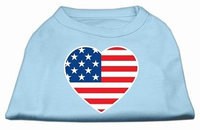 Ahi American Flag Heart Screen Print Shirt Baby Blue XXXL (20)