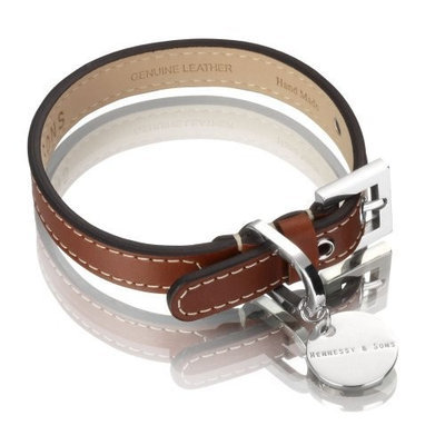 Hennessy & Sons Hennessy Large Leather Dog Collar, Red Brown with White Stitching