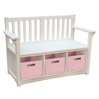 Guidecraft Classic Storage Bench with Bins, White, 1 ea