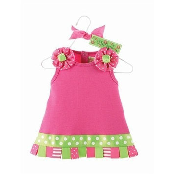 Mud Pie Little Sprout Baby Girls Pink Ribbon Tab Dress (12-18 Months)