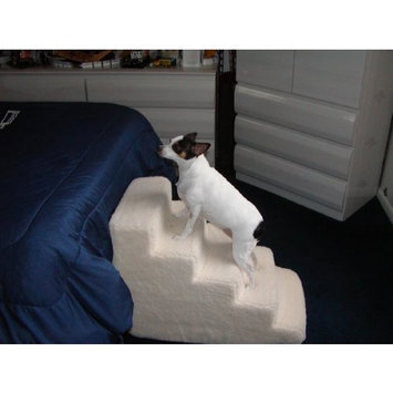 Pet Stairs Petstairz 5 Step High Density Foam Pet Step and Pet Stair with Beige Removable and Washable High Curly Pile Shearling Cover for Pets up to 50 Lbs.