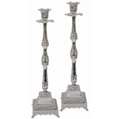 Artsy Casa Ultimate Judaica Silver Plated Candle Sticks - 18 H