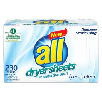 All Free & Clear Dryer Sheets 230 ct