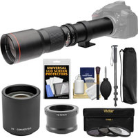Vivitar 500mm f/8.0 Telephoto Lens with 2x Teleconverter (=1000mm) + Monopod + 3 Filters Kit for Olympus Pen/OM-D & Panasonic Lumix Micro Four Thirds Camera