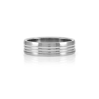 Emitations Nick's Wide Grooved Stainless Steel Men's Ring