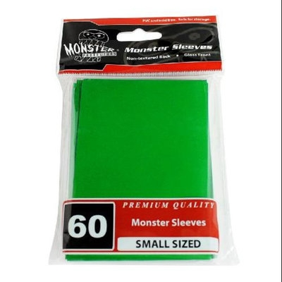 Sleeves - Monster Protector Sleeves - Smaller Size Gloss Finish - GREEN (Fits Yugioh and Other Sma