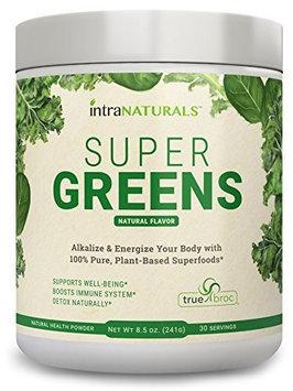Intranaturals SUPER GREENS Greens Powder w Organic Spirulina, Chlorella, Wheat Grass, PLUS Organic Fruits V