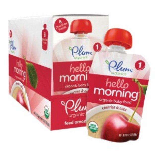 Plum Organics Stage 1 Hello Morning, Cherry & Oats, 6 ea