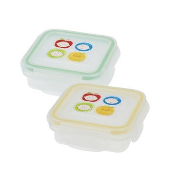 Innobaby Square Food Storage Container, 2 Pack, Stage 2, Green/Blue (Discontinued by Manufacturer)