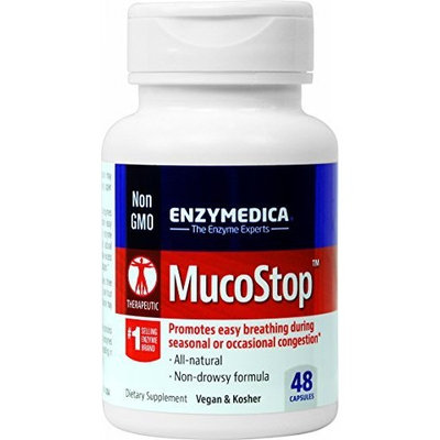 Enzymedica - MucoStop 48 Count - Promotes easy breathing during seasonal or occasional congestion (FFP)
