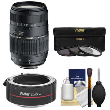 Tamron 70-300mm f/4-5.6 Di LD Macro 1:2 Zoom Lens with 3 UV/CPL/ND8 Filters + 2x Teleconverter Kit for Sony Alpha DSLR SLT-A37, A57, A58, A65, A77, A99 Digital SLR Cameras